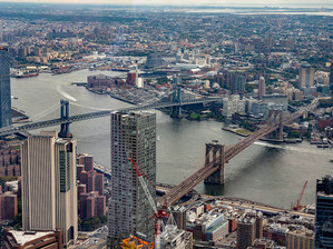 Brooklyn and Manhattan Bridges from the One World Observatory, October 2018