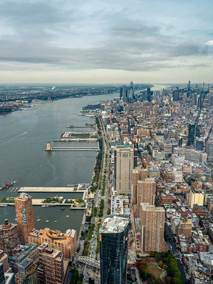 Looking north up the Hudson River from the One World Observatory, October 2018