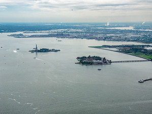 Liberty and Ellis Islands seen from the One World Observatory, October 2018