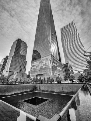 World Trade Centre Memorial with One World Trade Centre in the background, October 2018