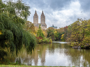 The Lake looking towards the San Remo Building on Central Park West, October 2018