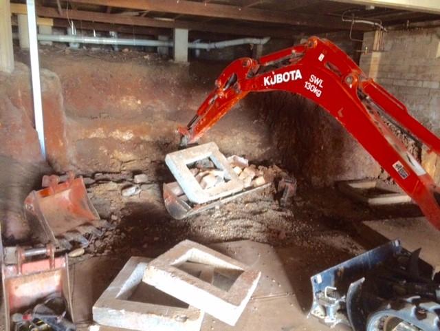underhouse excavation, mini diggers