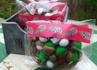 Holiday décor-Sweet red, green and white felted acorns.