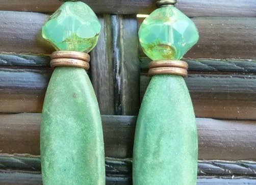 Czech and Turquoise green drop earrings
