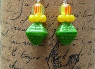 Green and yellow Czech glass beaded earrings
