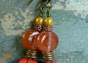 Stunning orange and bronze drop earrings