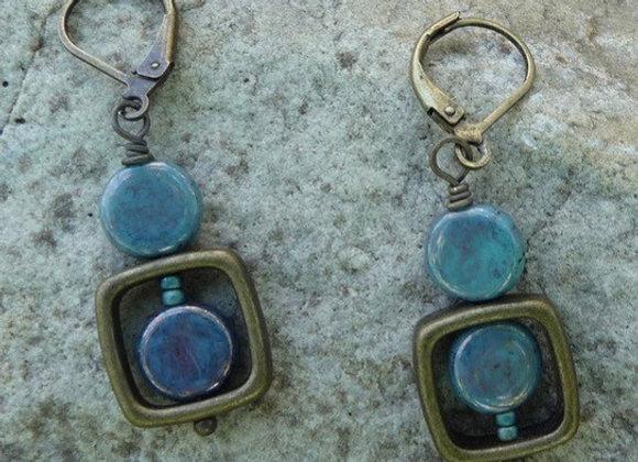 Light blue lever back drop earrings