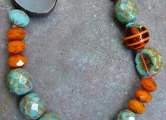 Blue/Orange bracelet with Czech and glass beads