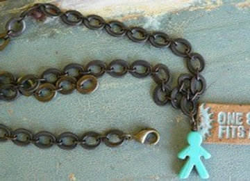 Aqua person pendant and bronze chain necklace