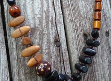 Multiple wood beaded necklace