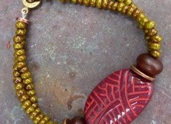 Stylish OOAK olive Picasso seed bead bracelet