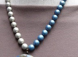 Beautiful grey and blue glass beaded necklace.