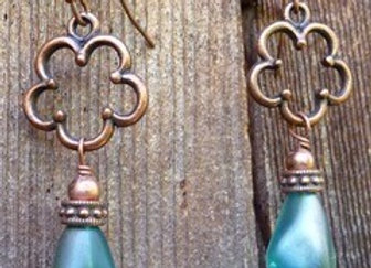 Beautiful Frosted aqua pear shaped drop earrings