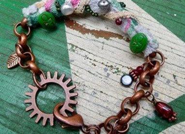 Vintage bark cloth wrapped copper chain bracelet