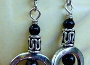 Pewter and glass earrings