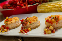 Crawfish Cheesecakes with Tomato and Cor