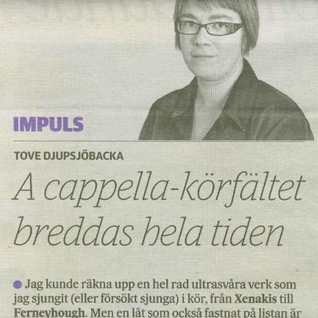 """""""A cappella-körfältet breddas hela tiden"""", Tove Djupsjöbacka, HBL 23.11.2016 / Impuls"""