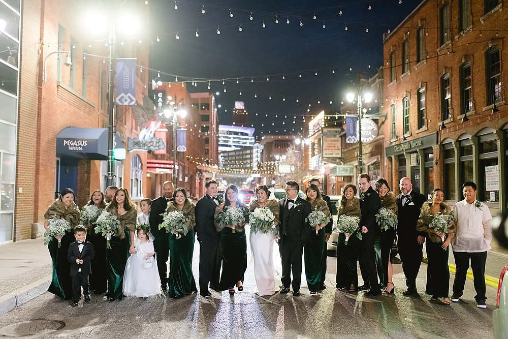 Niki Marie Photography bridal party in Greektown Detroit after their ceremony.