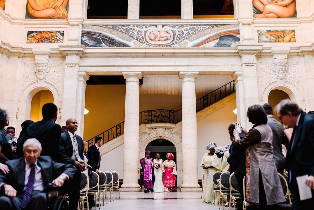 Justine Castle Photography bride walking down aisle DIA Detroit Institute of Arts