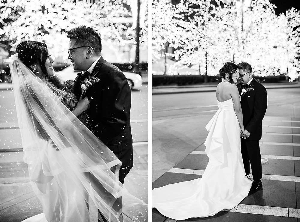 Niki Marie Photography bride and groom in the streets of Detroit after their ceremony.
