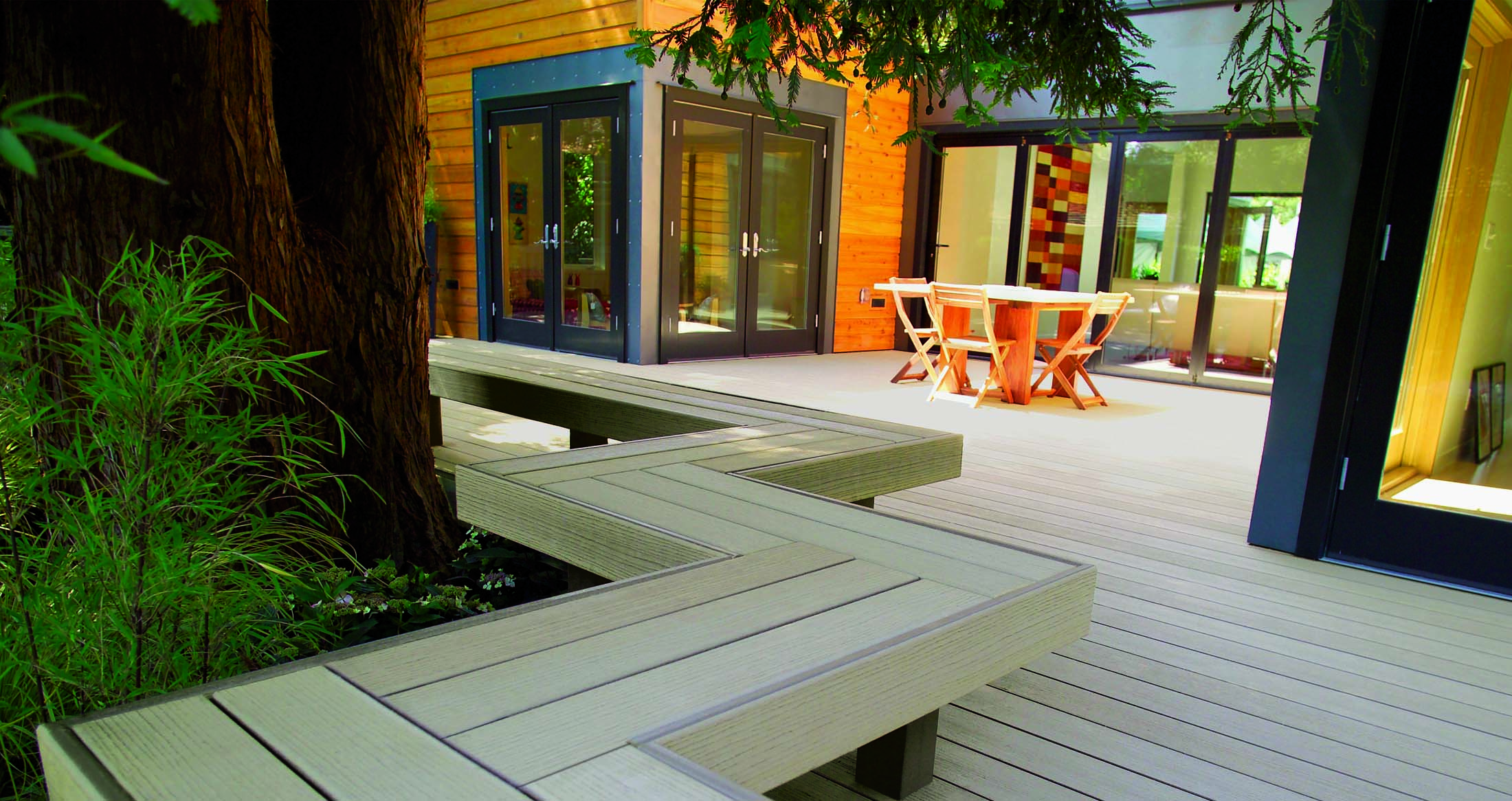 Custom zig-zag bench