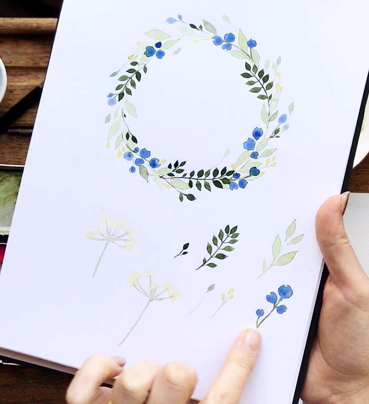 watercolour wreath tutorial drawing