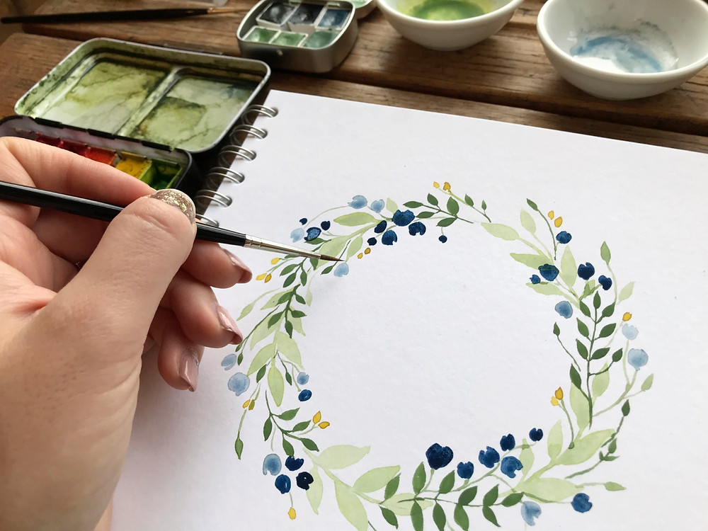 painting watercolour wreath tutorial