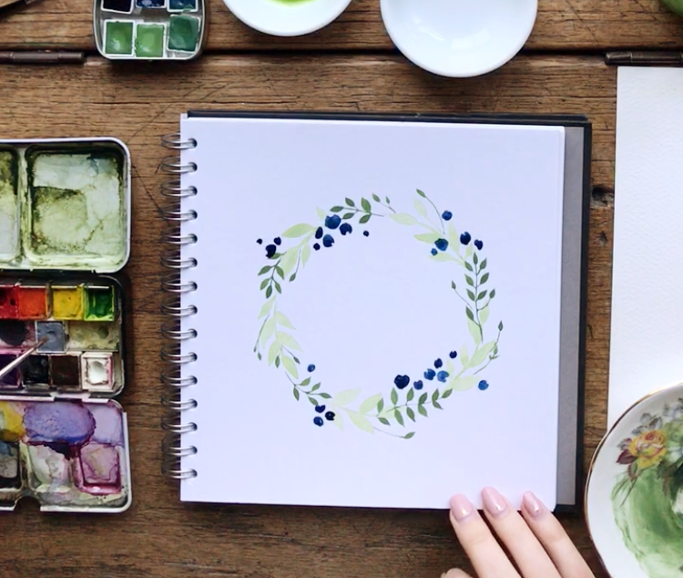 watercolour wreath tutorial step by step