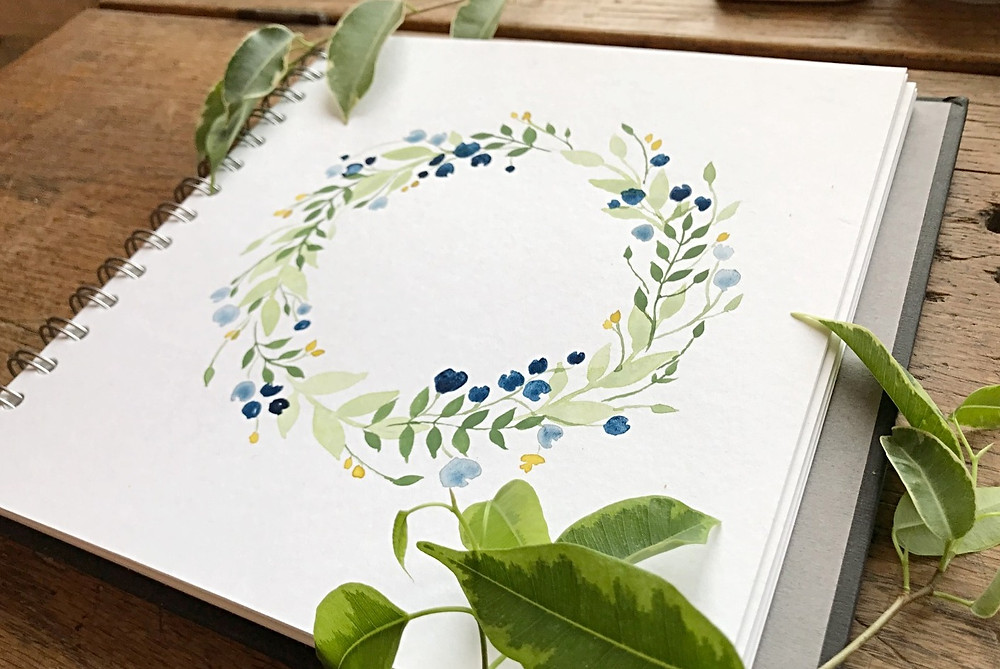 watercolour wreath tutorial painting step by step