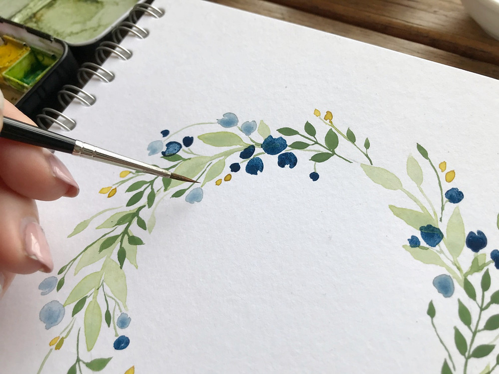 watercolour wreath tutorial lauren georgiou step by step