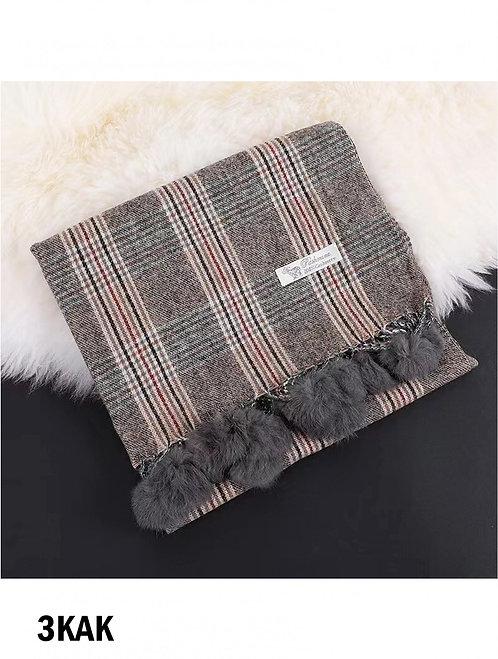 Khaki Blanket Scarf with Pom Pom