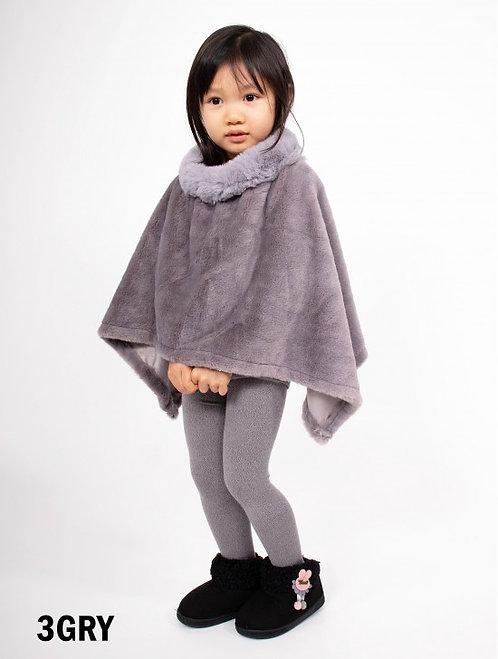 Grey Kids Faux Fur Poncho