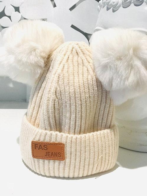 Cream Baby Size Double Pom Pom Hat