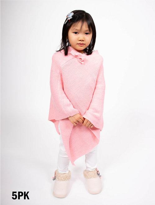 Pink Kids Bow Poncho