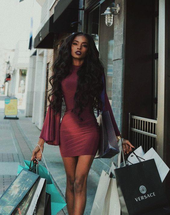 black woman luxury shopping