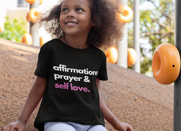 Kids Affirmations Prayer & Self Love Black T-Shirt