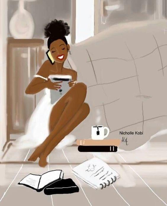 black woman self care happy