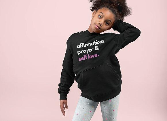 Kids Affirmation Prayer & Self Love Pullover Hoodie