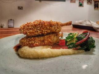 Hazelnut Crusted Lamb Chops, Jerusalem Artichoke Mash & Chard