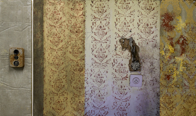 Naomi Safran-Hon | Wadi Salib: Rusted Electric Outlet with Wall Pattern (Gold) | 2013
