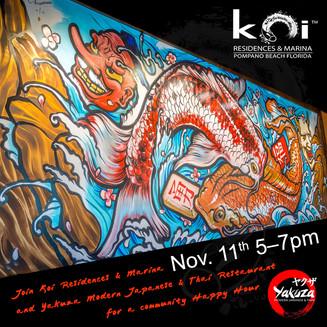 Koi invites you Nov 11th from 5 to 7pm: Happy Hour at Yakuza Modern Japanese & Thai