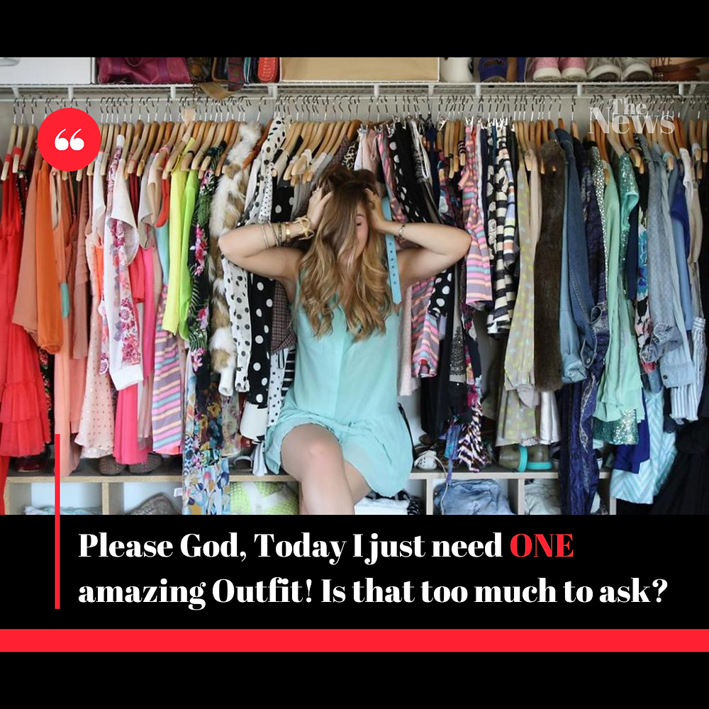 woman stressing over her packed closet