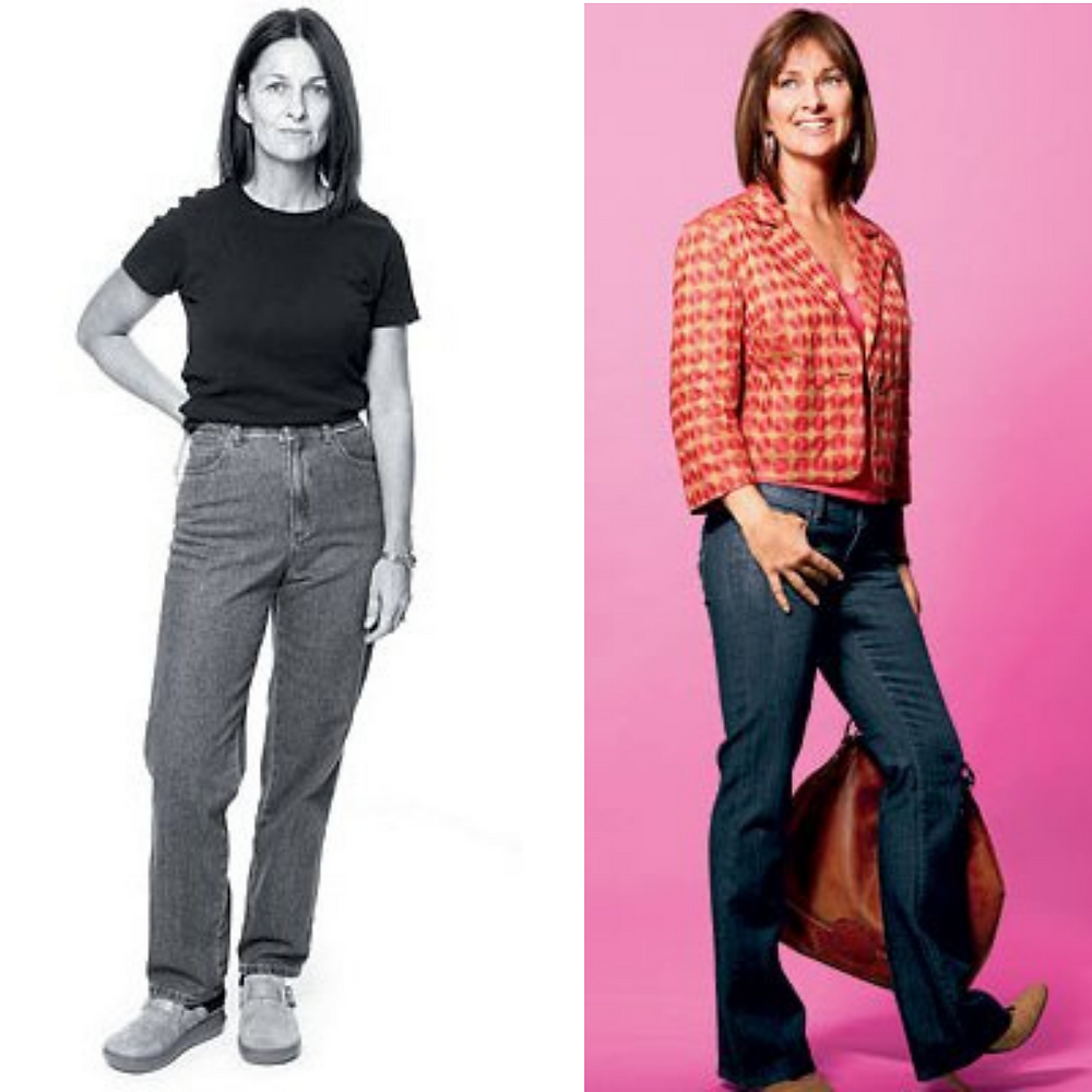 Before and after makeover of woman in jeans