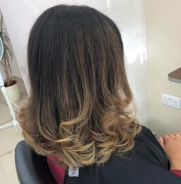 Ombre & curly blowdry