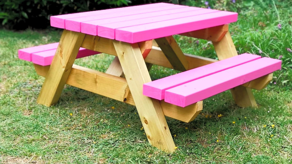 Two Tone Children's Picnic Table in Shocking Pink
