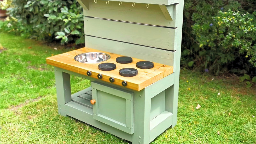 Mud Kitchen with Oven in Willow Green