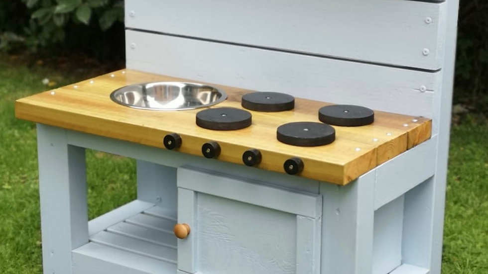 Mud Kitchen with Oven in Baby Blue
