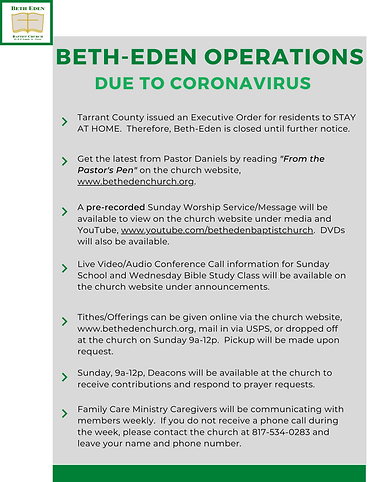 Beth-Eden Operations Due to Coronavirus.