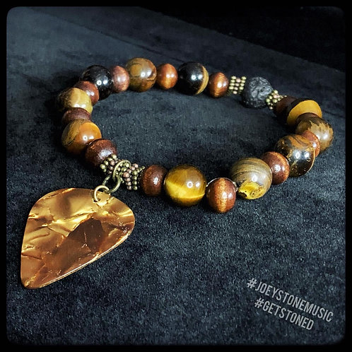 Tiger's Eye, Lavastone, and Guitar Pick Bracelet with Metal Bead Accent