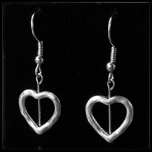 Silver Plated Heart & Guitar String Earrings